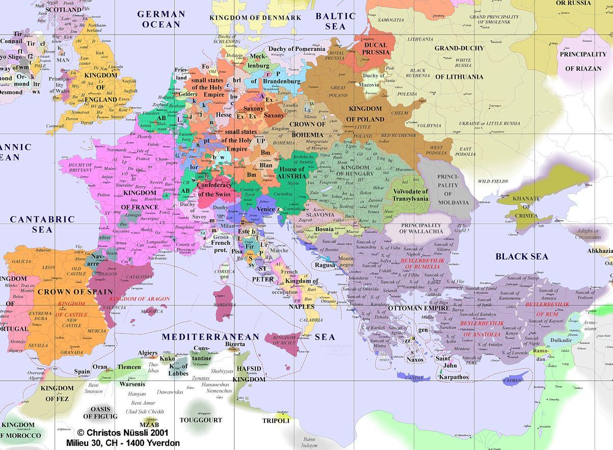 Mao of Europe in 1500  Pantagruelion