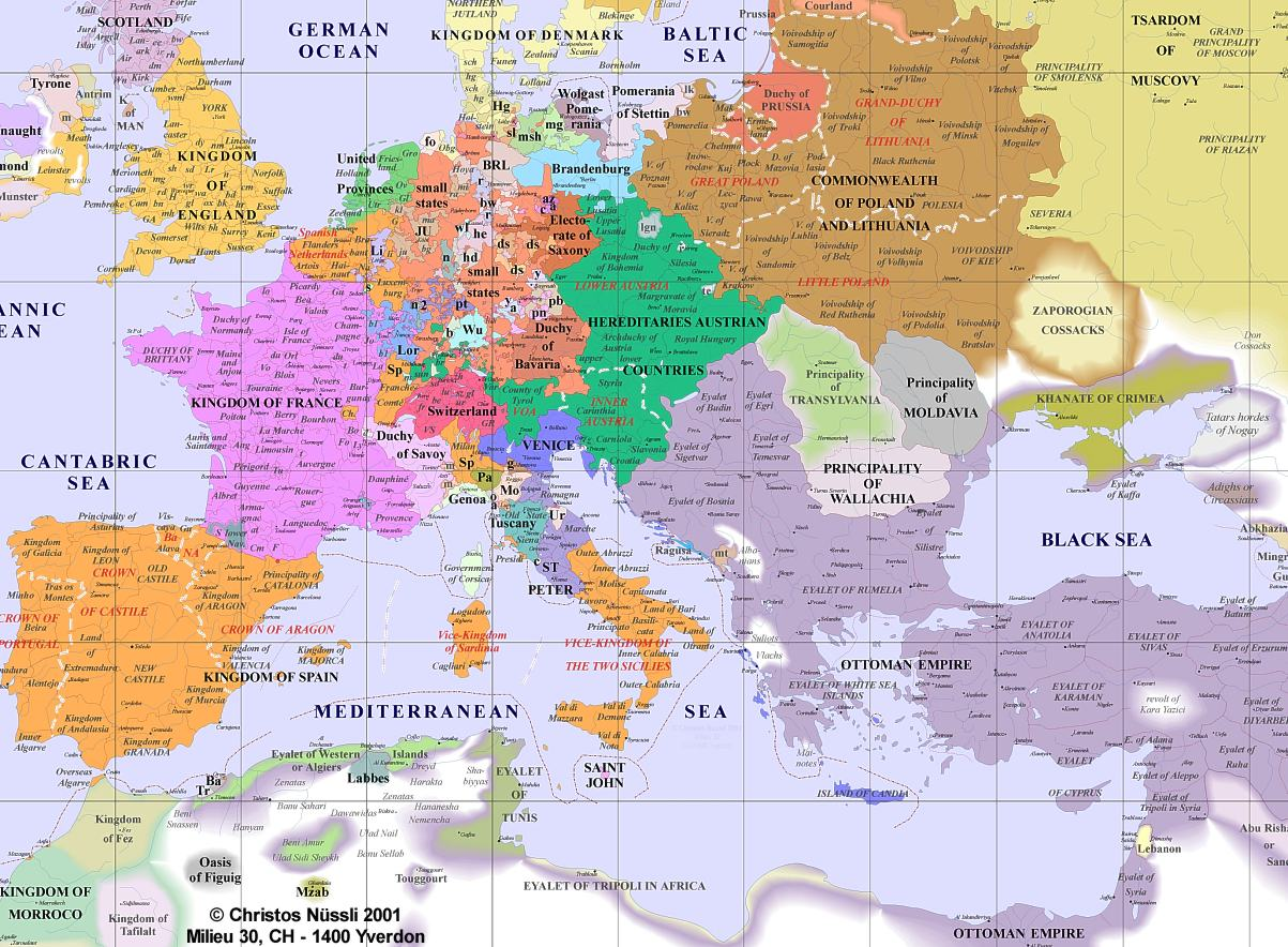 Map of Europe in 1600  Pantagruelion
