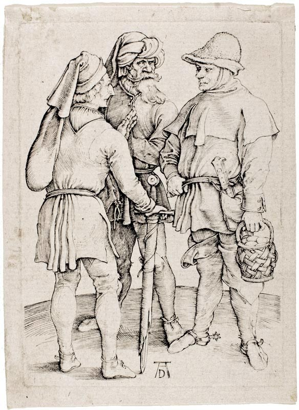 Three Peasants in Conversation. Dürer