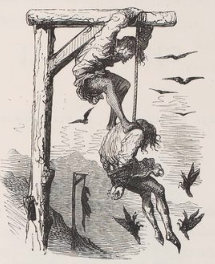 Hanged man from the 1873 edition of Gargantua and Pantagruel illustrated by Gustav Doré
