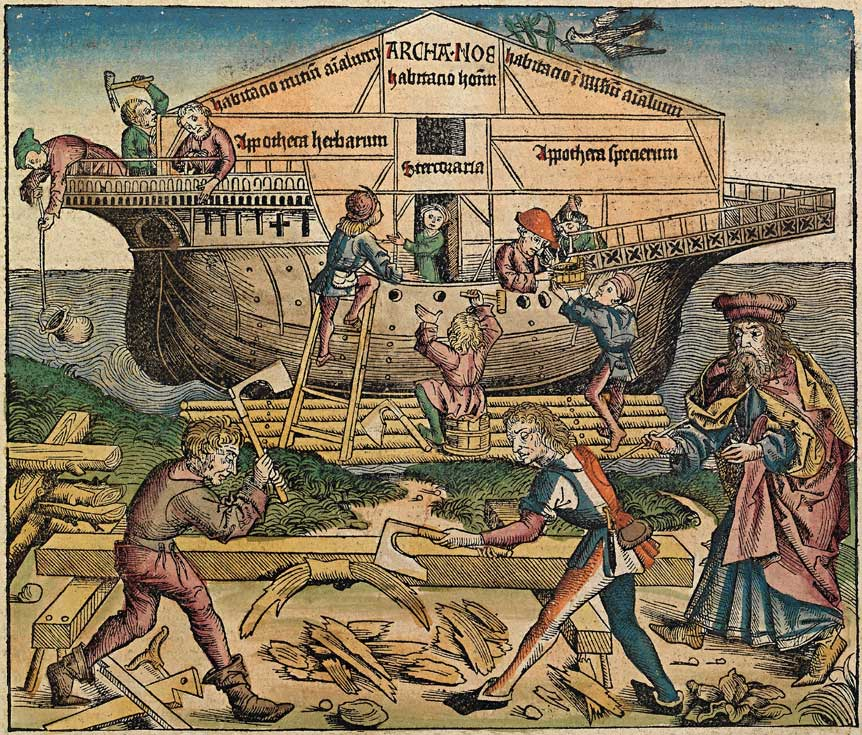 Building Noah's ark. Schedel, Die Schedelsche Weltchronik (Schedel's World History or Nuremberg Chronicle) (1493)